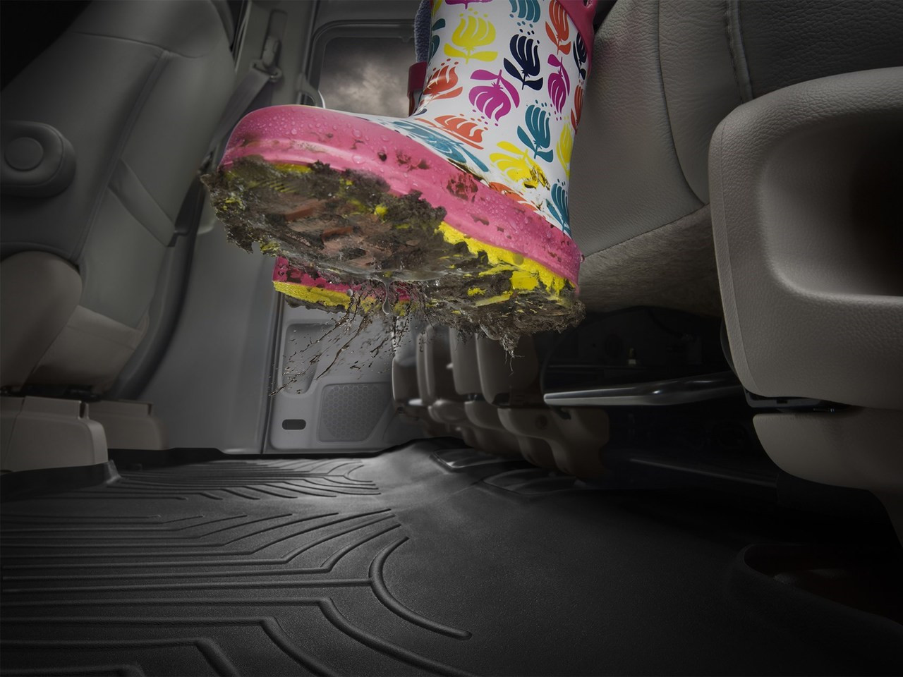 WeatherTech Custom Fit Rear FloorLiner for Ford F150 Super Cab Grey 460482