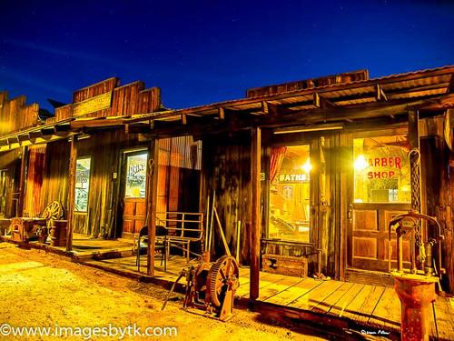 Main Street After Dark - Robson Arizona Mining World Fine Art Photograhy for Sale