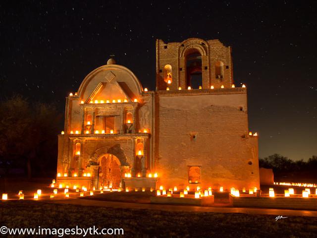 Christmas Eve Luminaria - Tumacacori Mission  Arizona 1 Fine Art Photograhy for Sale