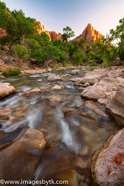 The Watchman at sunset along the Virgin River - Zion National Park