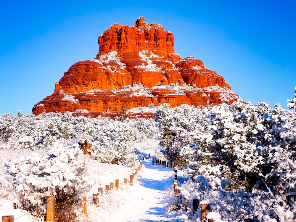 Bell Rock Pathway in Snow - Sedona, Arizona
