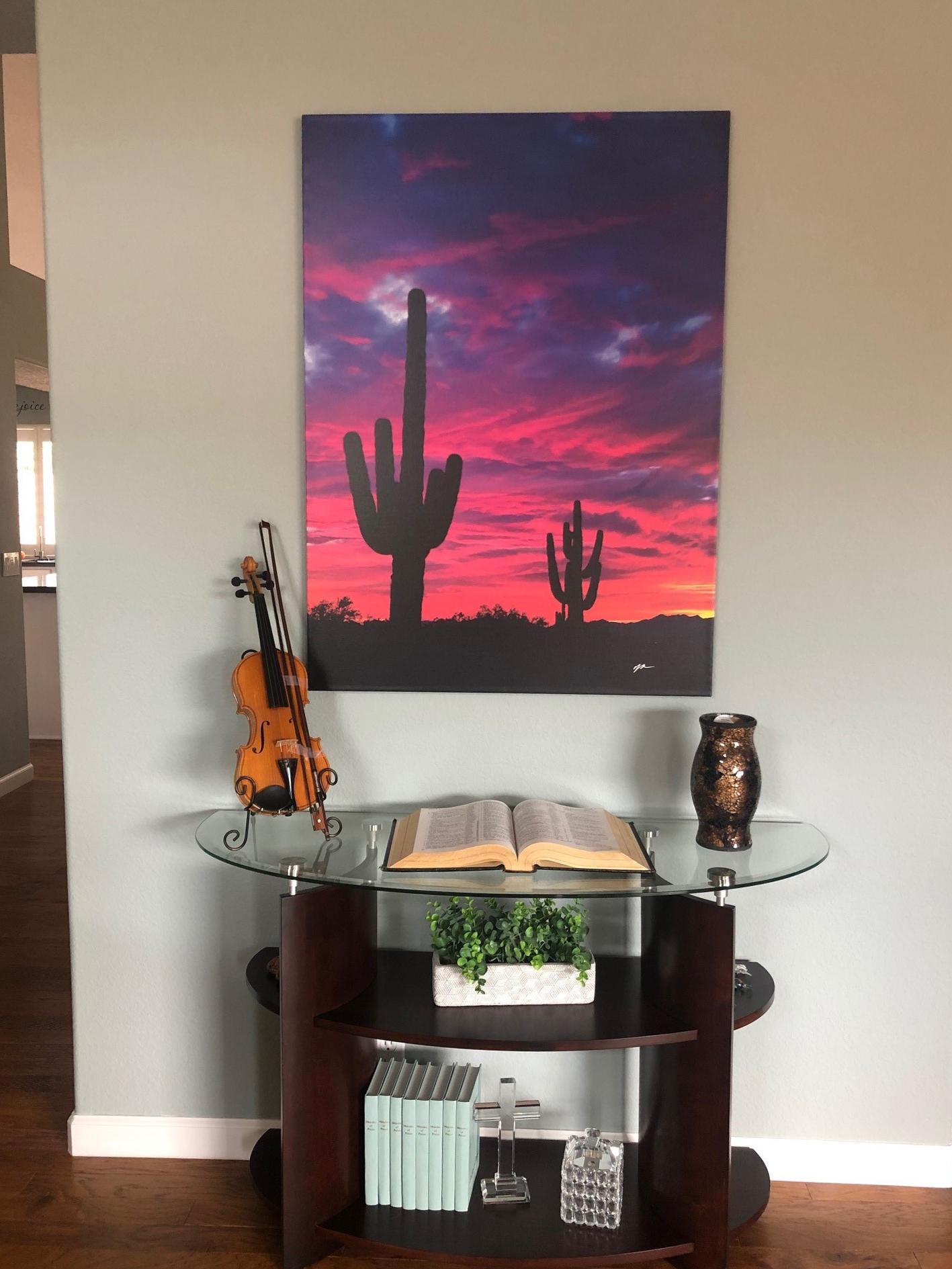 Desert Sunset Art with Saguaro for Sale