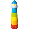 HABA Lighthouse Wooden Rainbow Stacker - 8 Piece Toddler Play Set (Made in Germany)