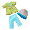 """HABA 3 Piece Dress Set Meadow Enchantment - Green Top with Blue Pants and Matching Hat - Fits 12-13.5"""" HABA Soft Dolls"""