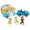 """HABA Little Friends Vacation Camper Play Set with All Terrain Push & Go Vehicle, 2 Lawn Chairs and 4"""" Bendy Boy"""
