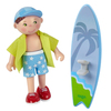 """HABA Little Friends Colin - 4"""" Boy Dollhouse Figure with Surfboard and Removable Shirt - Includes Tri-fold Beach Scenery"""