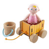 """HABA Little Friends Baby Nora - 2.5"""" Dollhouse Toy Figure with Wagon and Pail"""
