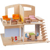 HABA Little Friends Dollhouse City Villa with 10 Pieces of Furniture