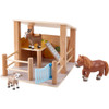 HABA Little Friends Petting Zoo - Wooden Stable with 3 Exclusive Farm Animal Figures