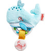 HABA Clutching Toy Whale Fabric Teether with Removable Plastic Rattling Ring