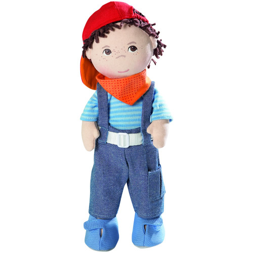 """HABA Graham 12"""" Soft Boy Doll with Brown Hair, Brown Eyes Removable Clothing & Shoes for Ages 18 Months and Up"""