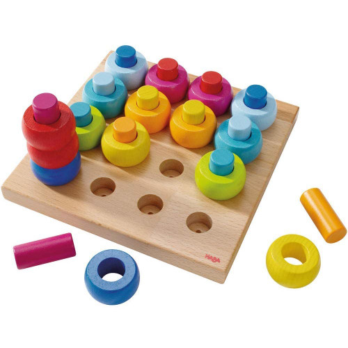 HABA Rainbow Whirls Pegging Game Wooden Arranging Toy (Made in Germany)