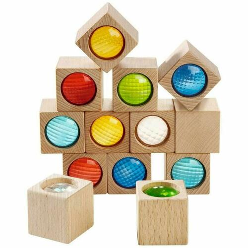 HABA Kaleidoscopic Building Blocks - 13 Piece Set with Colored Prisms (Made in Germany)