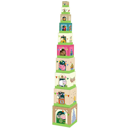 HABA On the Farm Sturdy Cardboard Nesting & Stacking Cubes - Blocks Reinforce Numbers 1 to 10
