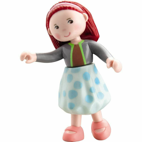 """HABA Little Friends Imke - 4"""" Dollhouse Doll Toy Figure with Red Hair & Headband"""