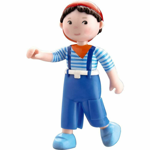 """HABA Little Friends Matze - 4"""" Boy Dollhouse Toy Figure with Blue Overalls and Red Cap"""