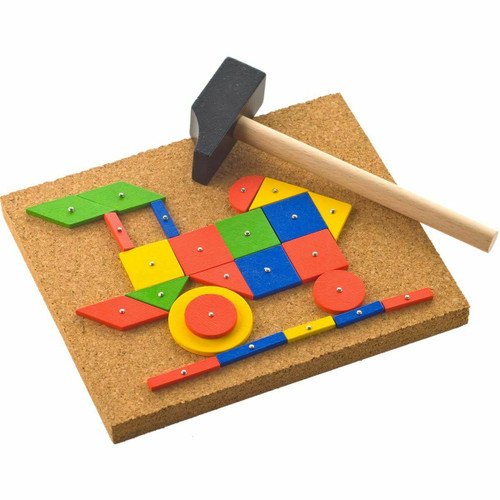 HABA Tap & Tack Jr. Imaginative Design Play Set with Corkboard, Hammer, Templates and 50 Wooden Tiles