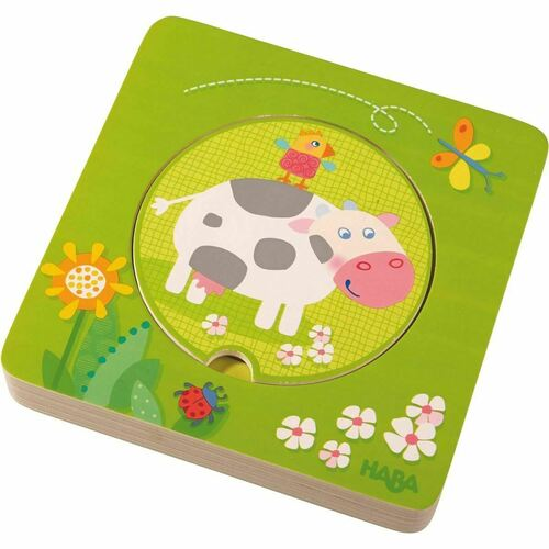 HABA On The Farm 5 Piece Wooden Puzzle with Layered Disks for Ages 12 Months and Up