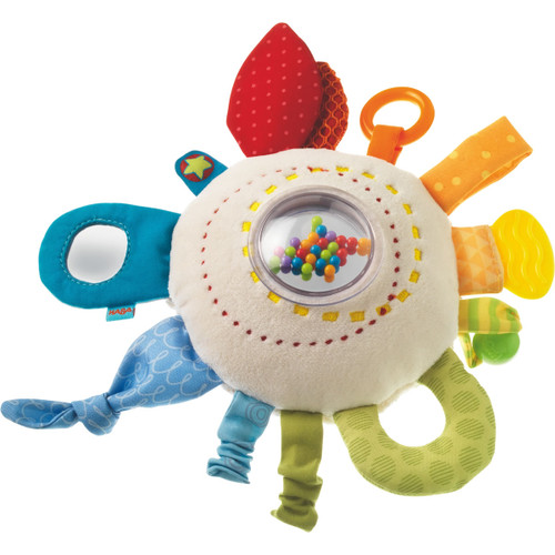 HABA Teether Cuddly Rainbow Round - Soft Activity Toy with Rattling & Teething Elements