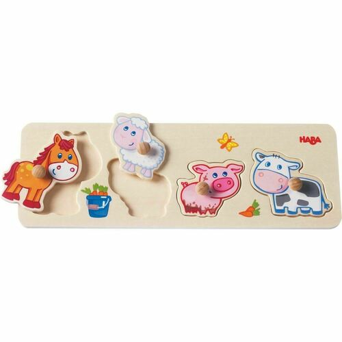 HABA Baby Farm Animals Clutching Puzzle - 4 Piece Jumbo Knob Wooden Puzzle for Ages 1 and Up