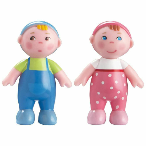 """HABA Little Friends Babies Marie & Max - 2.5"""" Twin Baby Dollhouse Toy Figures (2 Piece Set)"""
