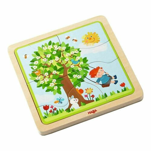 HABA Wooden Puzzle My time of Year with Four Layers - One for Each Season - 22 Pieces in All - Ages 3 and Up