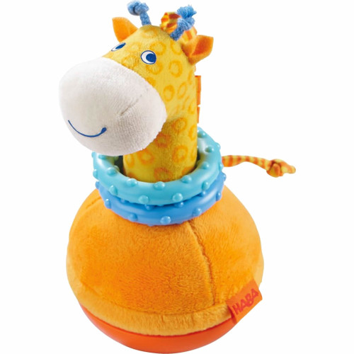 HABA Roly Poly Giraffe Soft Wobbling & Chiming Baby Toy with Teething Rings
