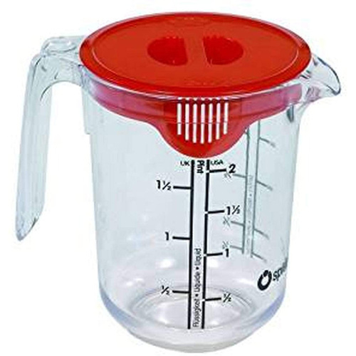 Spielstabil Clear Plastic 1 Quart Children's Measuring Pitcher with Cover (Made in Germany)