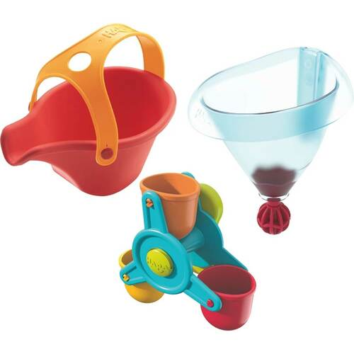 HABA Bathtub Ball Track Bathing Bliss Water Wonders - Waterwheel, Funnel and Watering Can for Endless Pouring Fun!