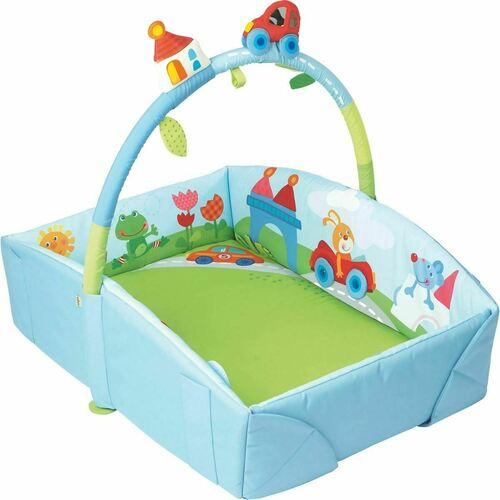 HABA Whimsy City Soft Fabric Play Gym with Detachable Arch - Use as a Play Surface, Changing Area or Small Bed