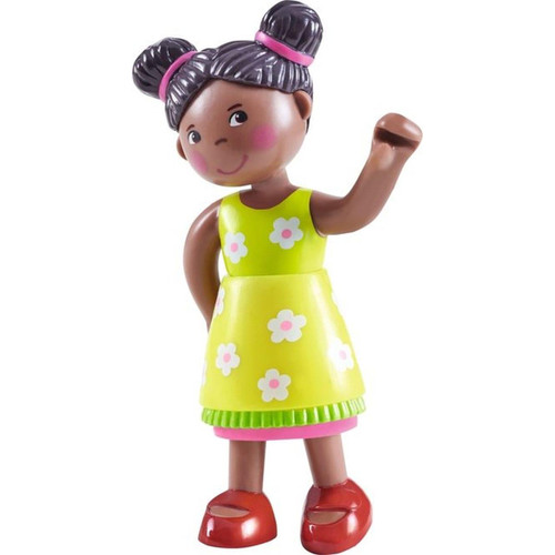"""HABA Little Friends Naomi - 4"""" African American Girl Dollhouse Toy Figure with Pig Tails"""