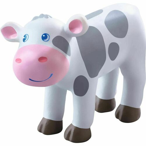 """HABA Little Friends Spotted Calf - 2.75"""" Holstein Farm Animal Toy Figure"""