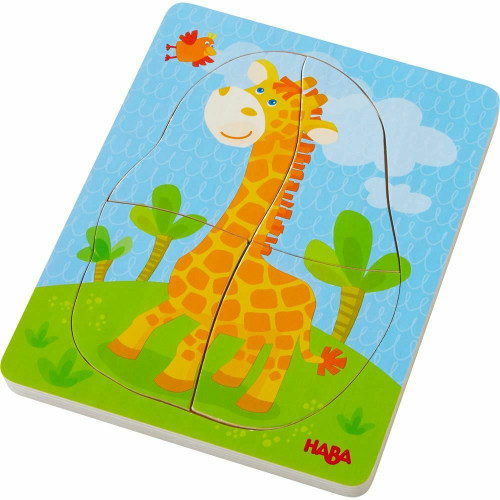 HABA Wild Animals 10 Piece Layered Wooden Puzzle for Ages 12 Months and Up