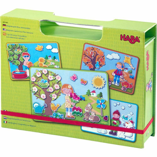 HABA Seasons Magnetic Game Box - 90 Magnetic Pieces with 4 Background Scenes in Cardboard Carrying Case