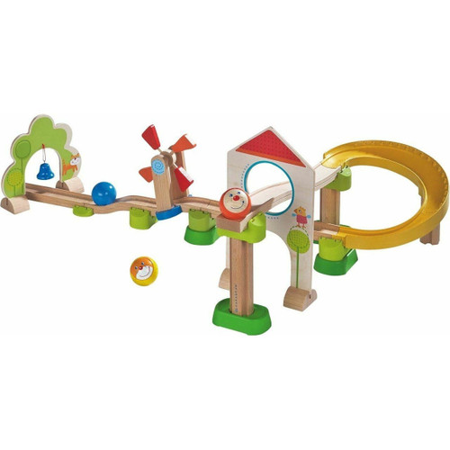 HABA Kullerbu Windmill Playset - 25 Piece Ball Track Starter Set with Special Effects - Ages 2+