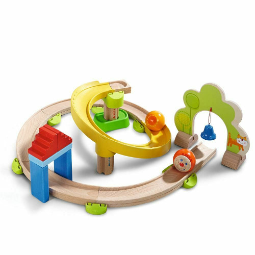 HABA Kullerbu Spiral Track - 26 Piece Wood & Plastic Ball Track Set with Crazy Curves & Bell Age 2+