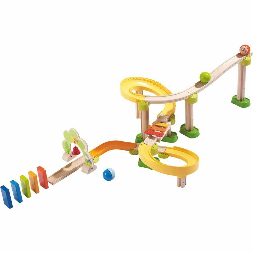 HABA Kullerbu Sim-Sala-Kling - 38 Piece Wooden & Plastic Ball Tack Set with Steep Curves and Musical Effects
