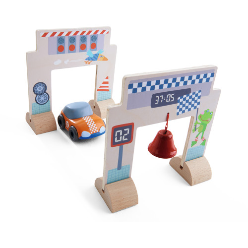 HABA Kullerbu Race Track Accessory Set with Orange Speedster (Motor Car), Starting Gate and Finish Line with Bell