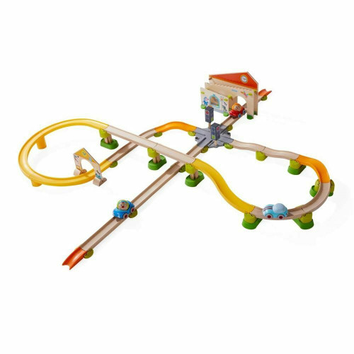 HABA Kullerbu City Stroll Play Track - 58 Piece Starter Set with Wooden & Plastic Track Ages 2+