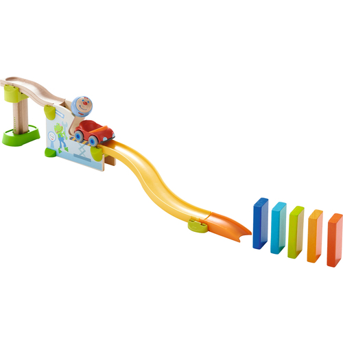 HABA Kullerbu Theme Set - Jump into Car Dominos - 15 Piece Playset - Use as a Standalone Set or an Expansion