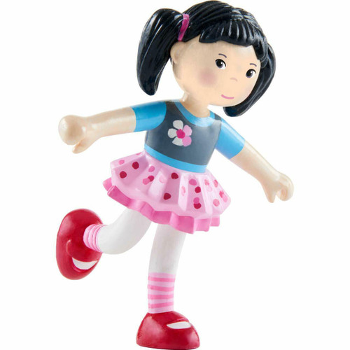"HABA Little Friends Lara - 4"" Bendy Doll Figure with Black Pigtails and Asian Skin Tone"