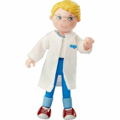 """HABA Little Friends Veterinarian Andreas 4.5"""" Dollhouse Toy Figure with Removable Lab Coat"""