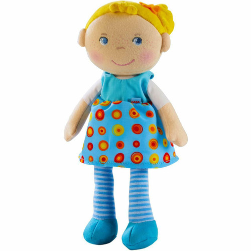 """HABA Snug Up Edda - 10"""" Soft Doll with Fuzzy Blonde Hair and Embroidered Face"""
