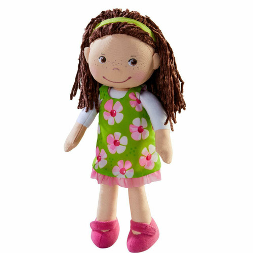 """HABA Coco 12"""" Soft Doll with Brown Hair, Embroidered Face"""