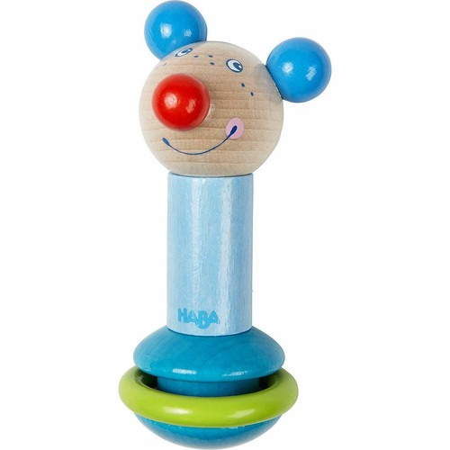 HABA Rod Clutching Toy Mouse with Clattering Plastic Ring (Made in Germany)