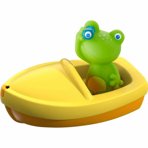 HABA Bath Boat Frog Ahoy with Removable Froggie Finger Puppet - Great for Bath or Pool