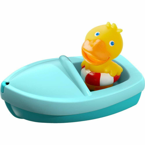HABA Bath Boat Duck Ahoy with Removable Duckie Finger Puppet - Great for Bath or Pool