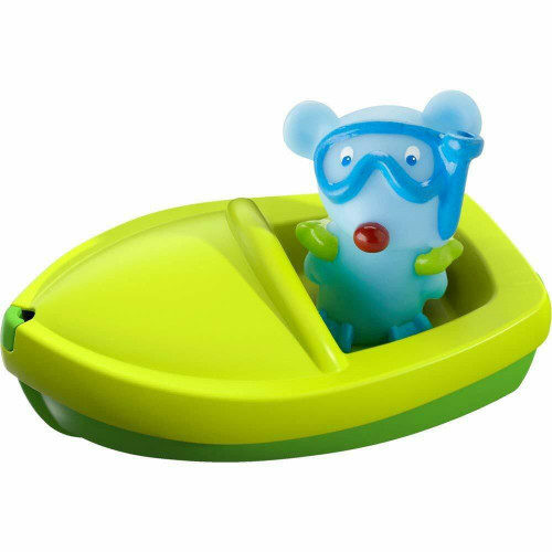 HABA Bath Boat Mouse Ahoy with Removable Scuba Diving Themed Finger Puppet - Great for Bath or Pool