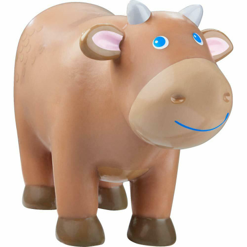 """HABA Little Friends Brown Cow - 3"""" Tall Chunky Plastic Farm Animal Toy Figure"""
