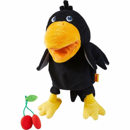 HABA Theo The Raven Glove Puppet with Cherries - Beak Opens Wide with Opening to Eat The Fabric Fruit